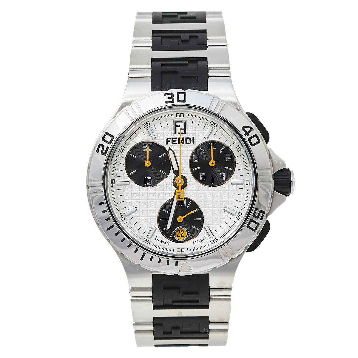 Fendi Silver Stainless Steel Chronograph 4800M Men's Wristwatch 38 mm