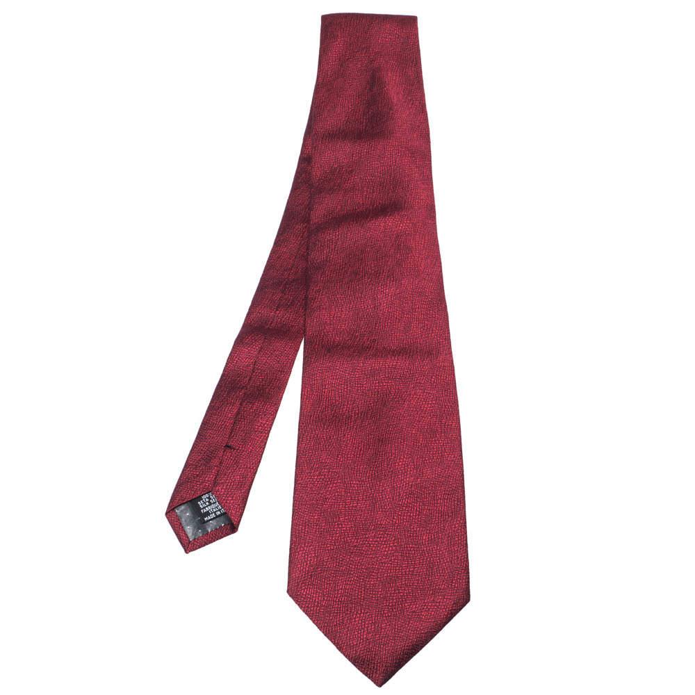 Gianfranco Ferre Red Jacquard Silk Traditional Tie