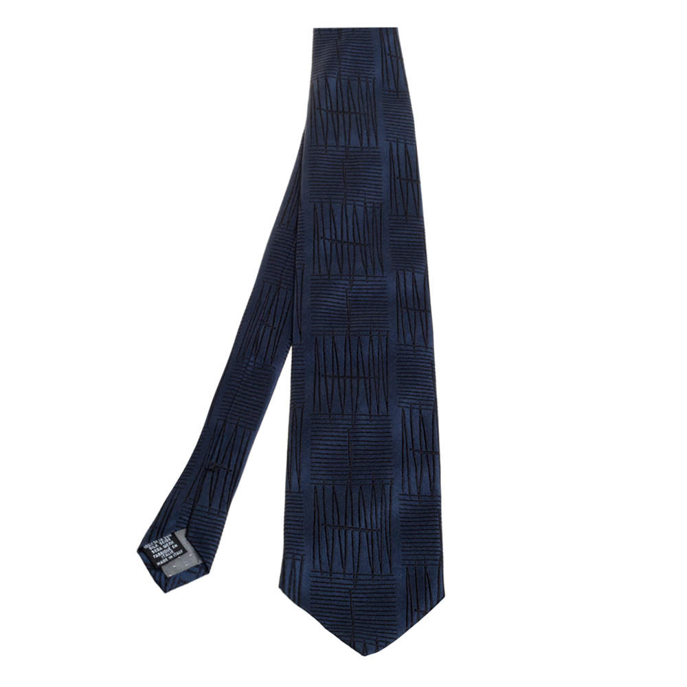Gianfranco Ferre Navy Blue Embroidered Silk Tie