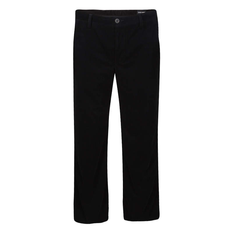 Giorgio Armani Black Velvet Chevron Pattern Pants XL