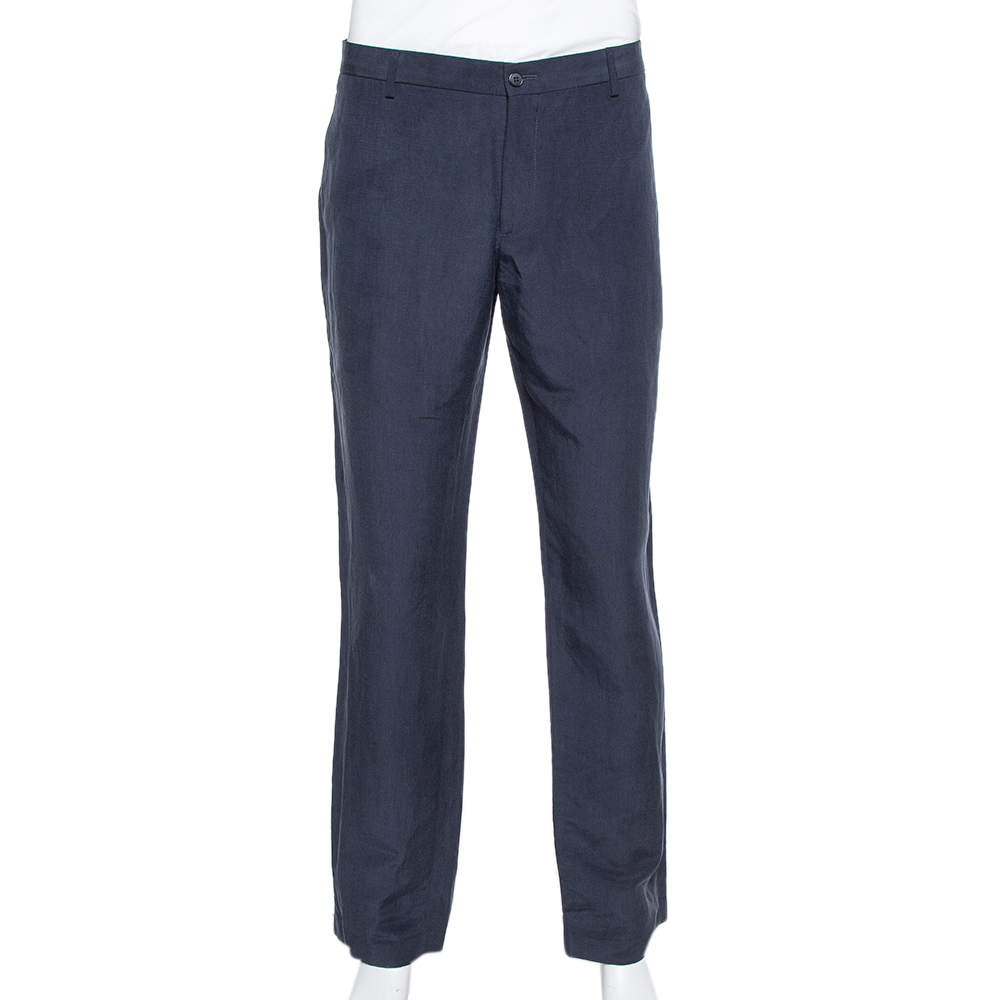 Giorgio Armani Navy Blue Flax & Silk Classic Trousers 4XL