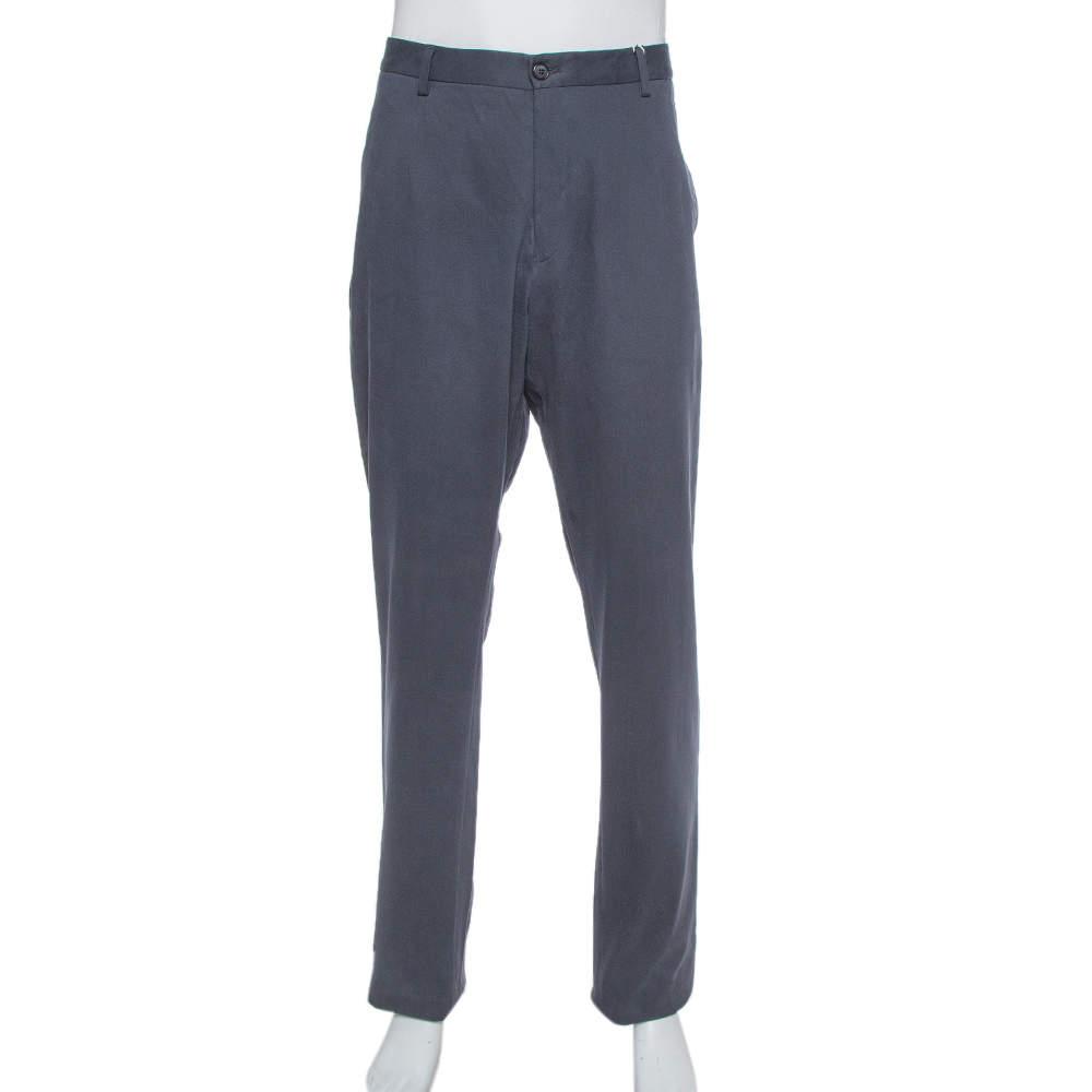 Giorgio Armani Navy Blue Textured Cotton Classic Trousers 4XL
