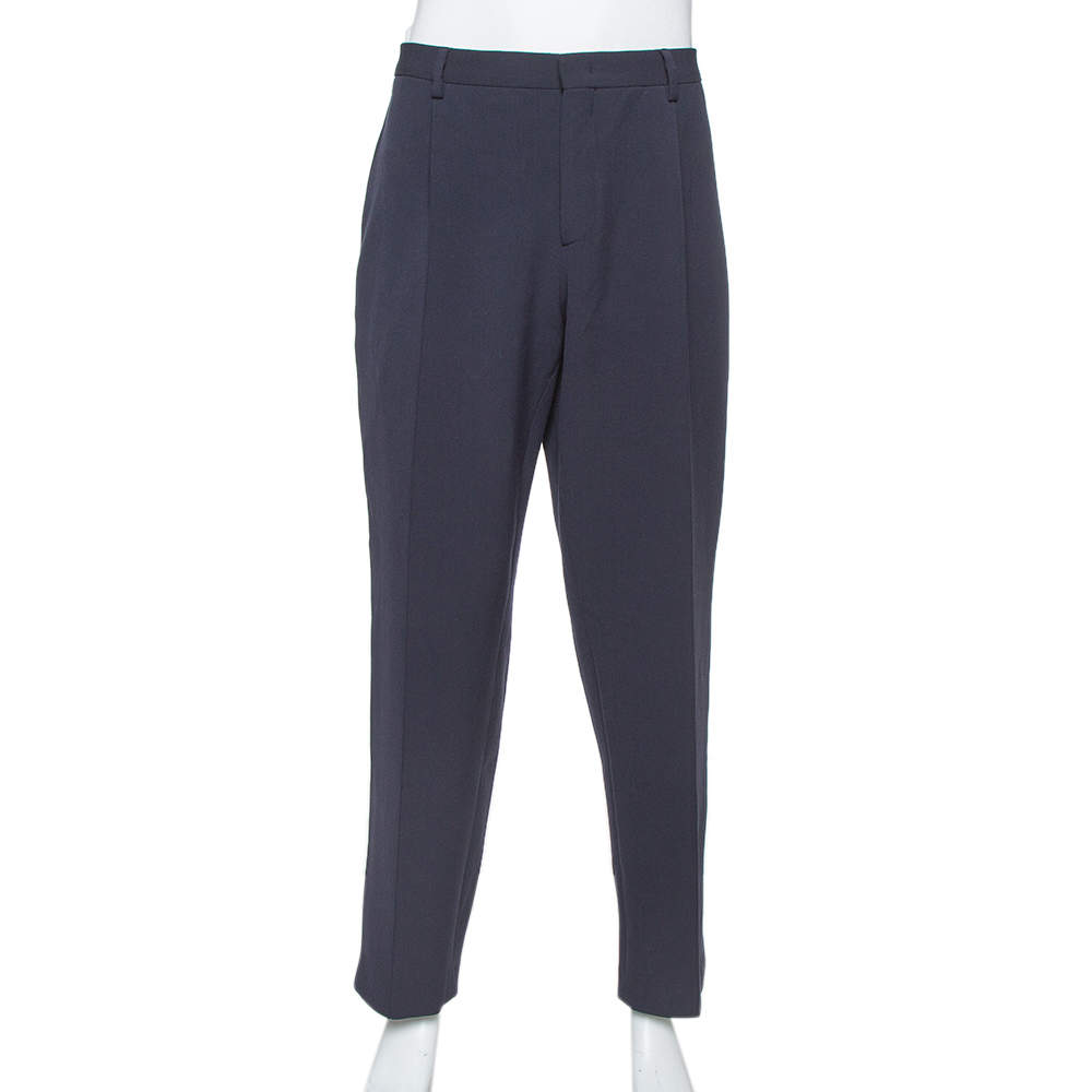 Giorgio Armani Navy Blue Knit Tapered Trousers 3XL