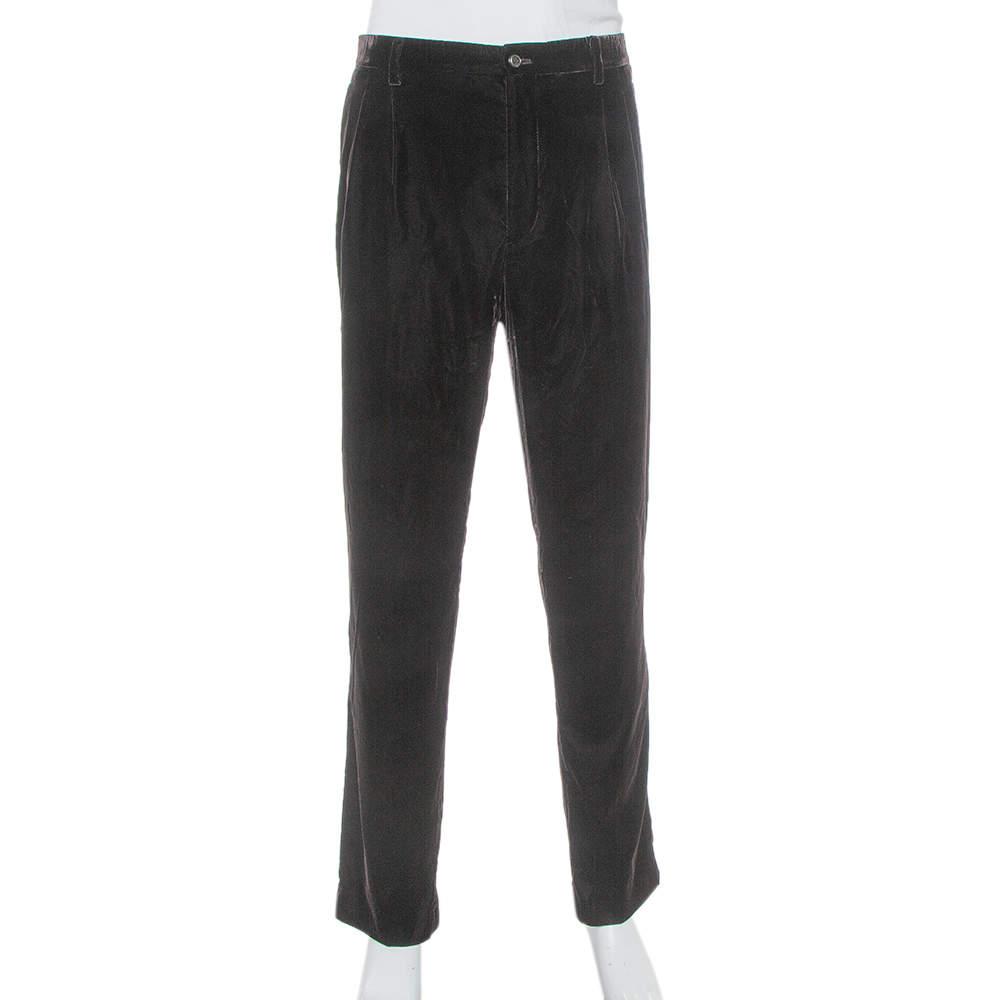 Giorgio Armani Brown Velvet Tapered trousers 4XL