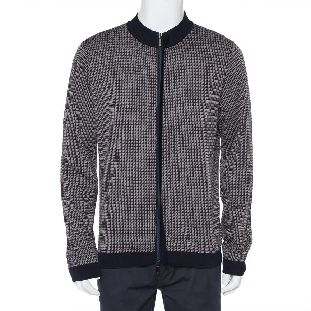 Giorgio Armani Navy Blue & Beige Patterned Knit Zipper Front Jacket XXL