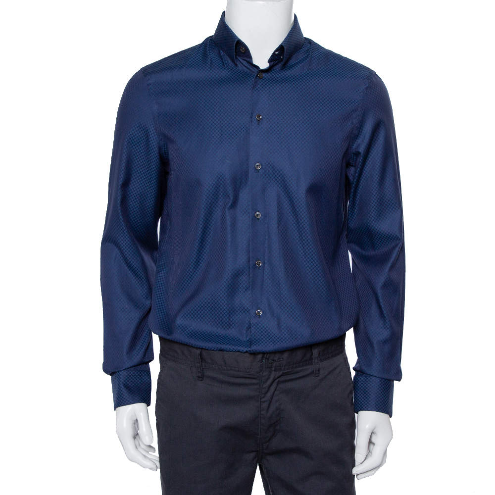 Giorgio Armani Navy Blue Patterned Silk Button Front Shirt L