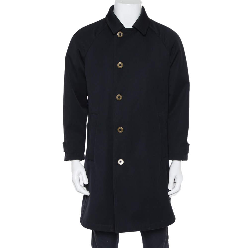 Giorgio Armani Black Wool Water Repellent Button Front Coat S
