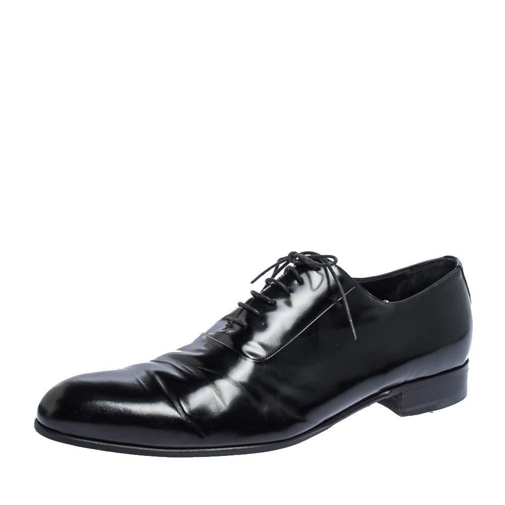 Giorgio Armani Black Textured Leather Lace Up Oxfords Size 44