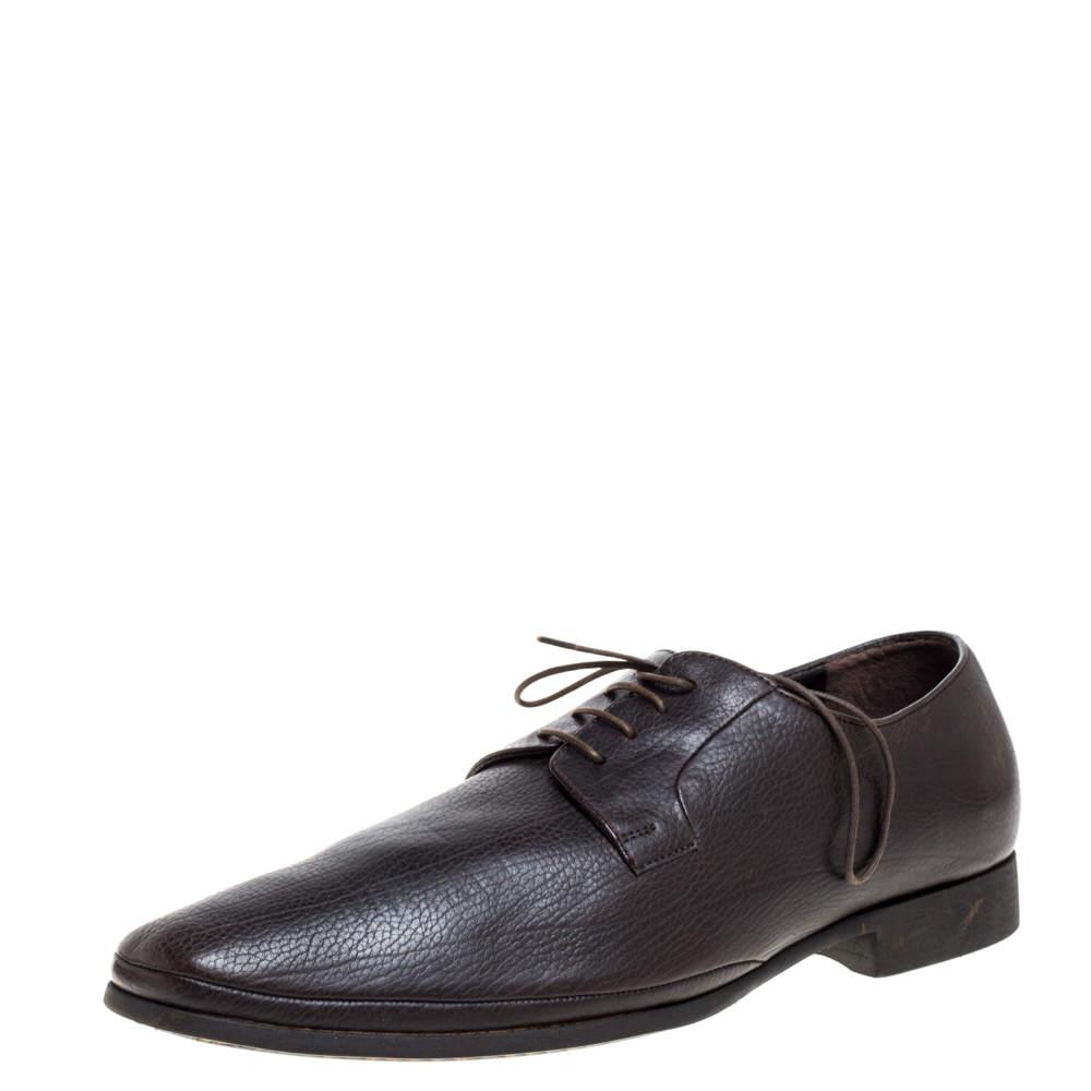 Giorgio Armani Dark Brown Leather Classic Oxfords Size 44