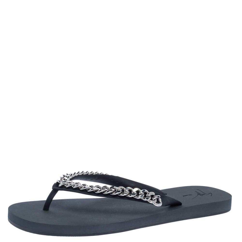 Giuseppe Zanotti Black Rubber Sunset Chain Detail Flip Flops Size 46