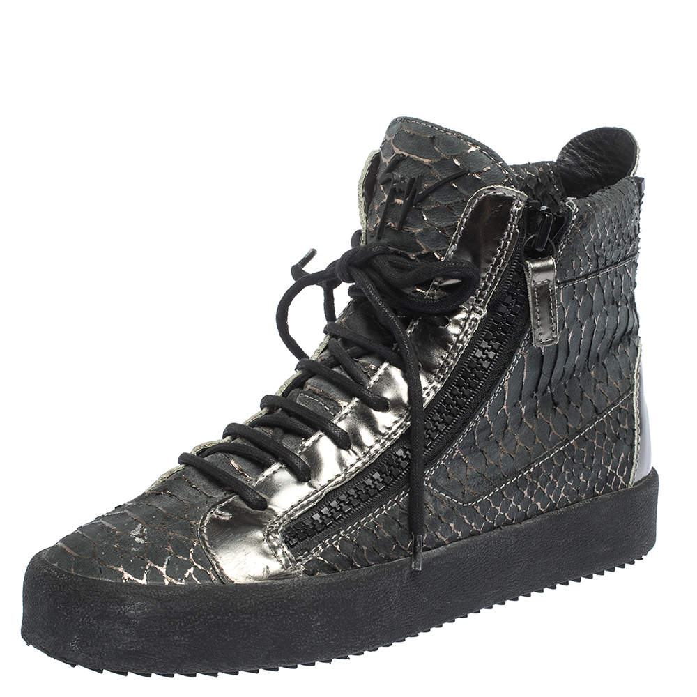 Giuseppe Zanotti Python Embossed Leather Double Zip High Top Sneakers Size 41