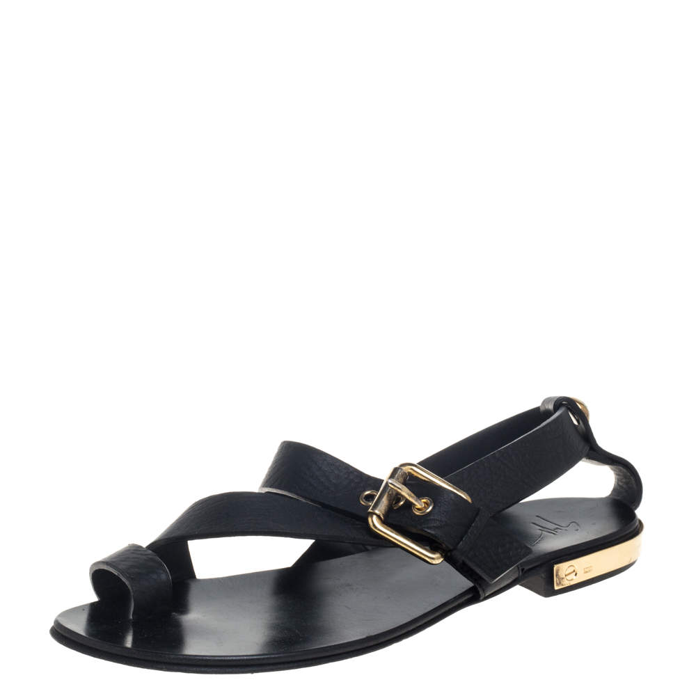 Giuseppe Zanotti Black Leather Toe Ring Cross Strap Sandals Size 42