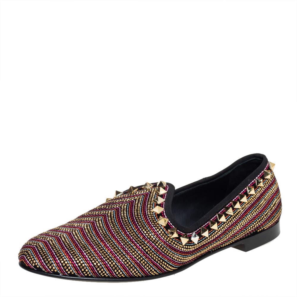 Giuseppe Zanotti Black Suede Embellished Smoking Slippers Size 41