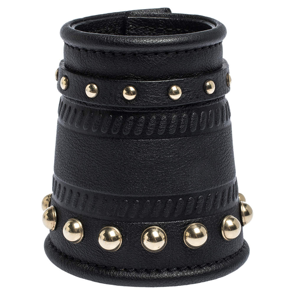 Givenchy Black Embossed Leather Studs Wide Buckle Cuff Bracelet