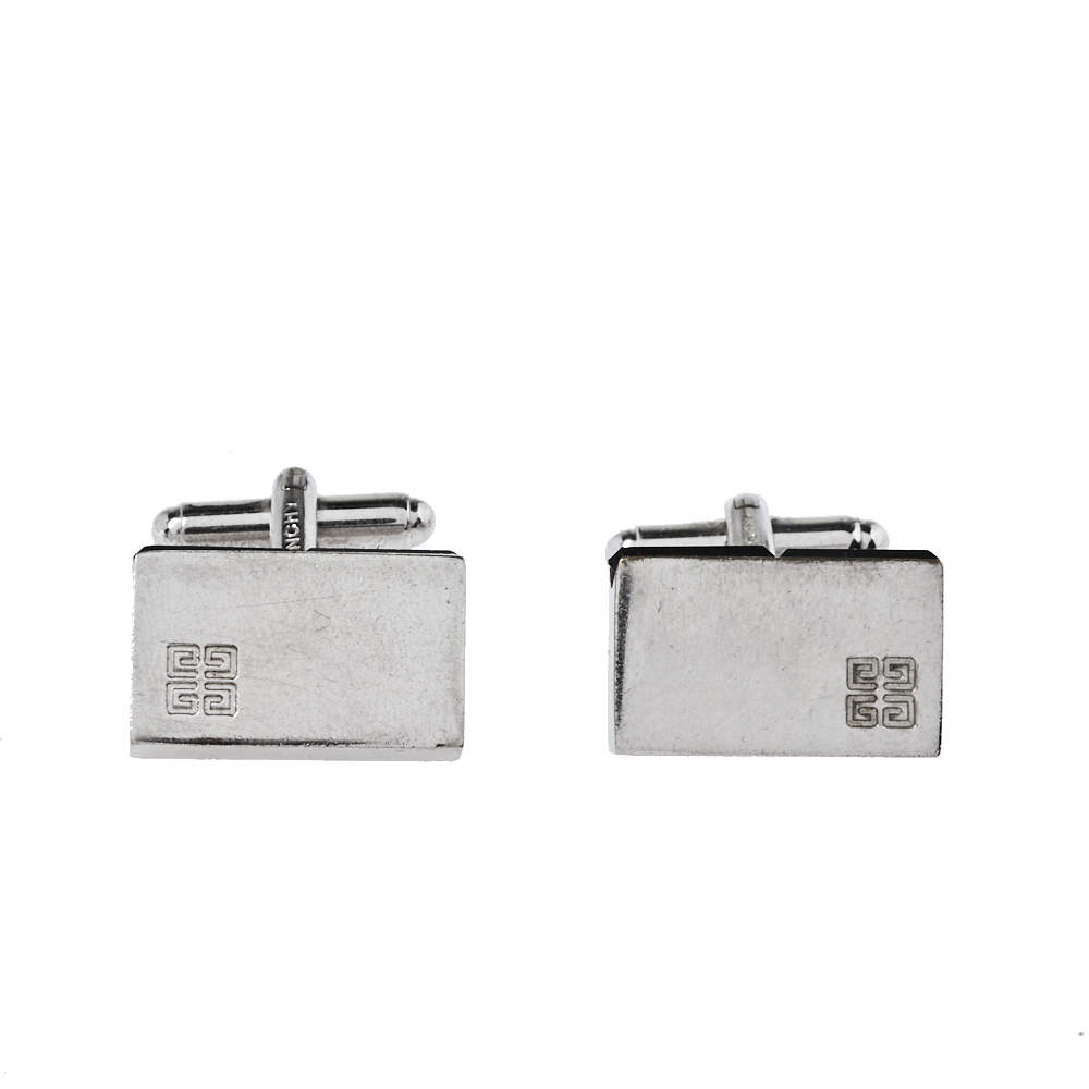 Givenchy Silver Tone Crystal Embedded Rectangle Cufflinks