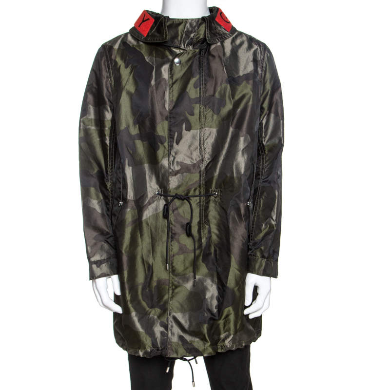 Givenchy Green Camouflage Print Technical Fabric Hooded Parka M