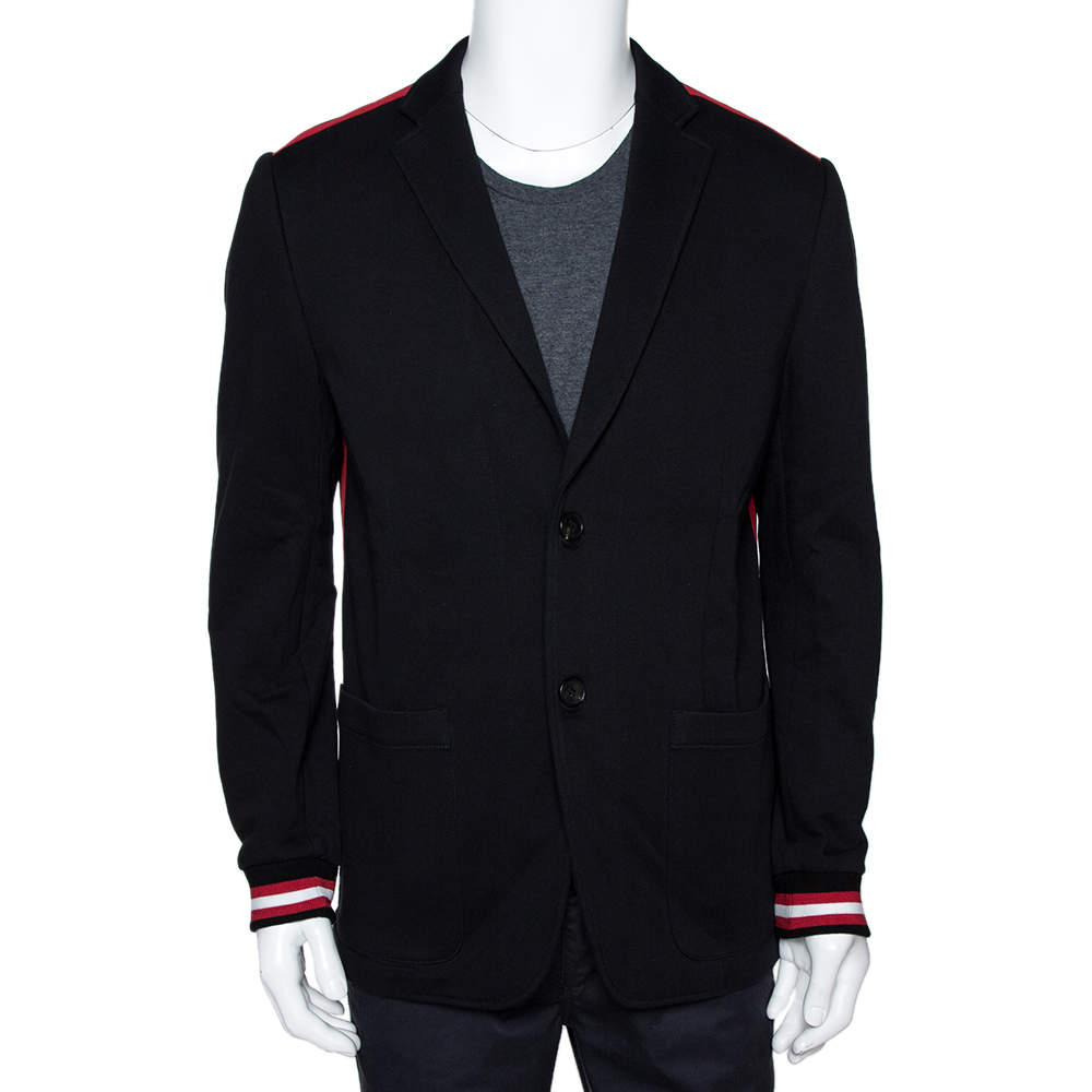 Givenchy Black Cotton Knit Striped Trim Two Buttoned Blazer L