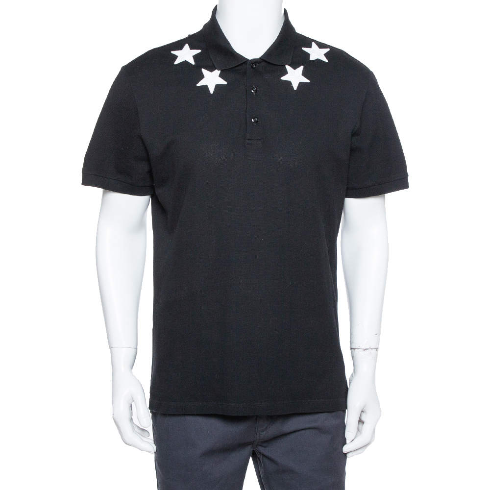 Givenchy Black Cotton Pique Star Embroidered Polo T Shirt XXL