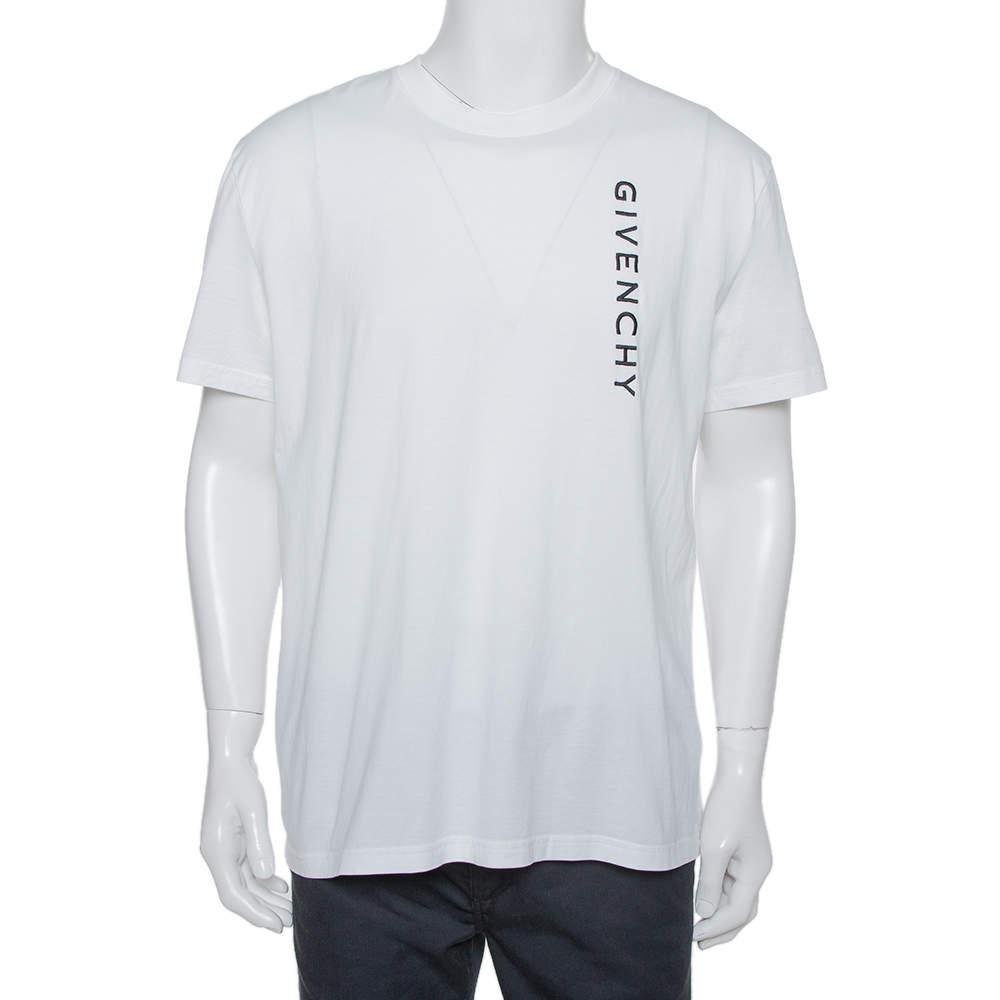 Givenchy White Cotton Logo Embroidered Crewneck T-Shirt XXL