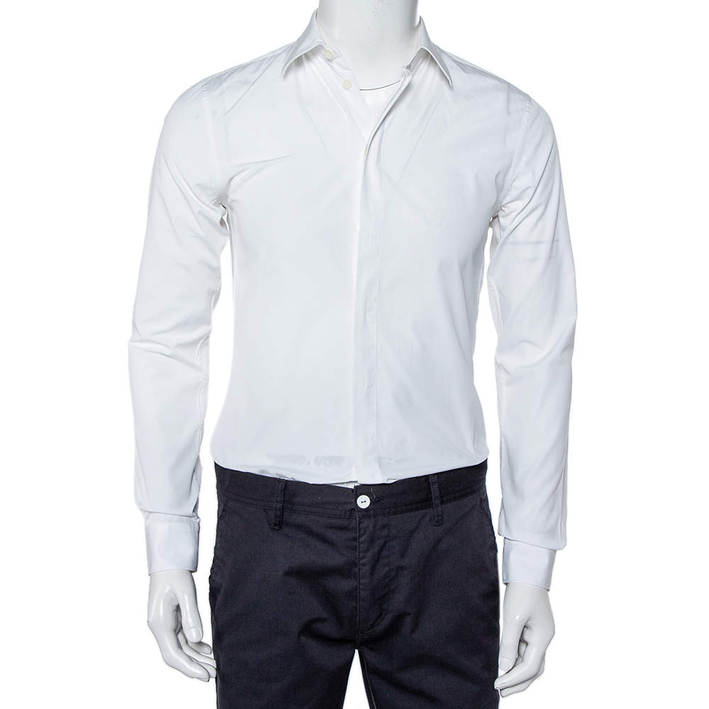 Givenchy White Cotton Long Sleeve Button Front Classic Slim Fit Shirt S