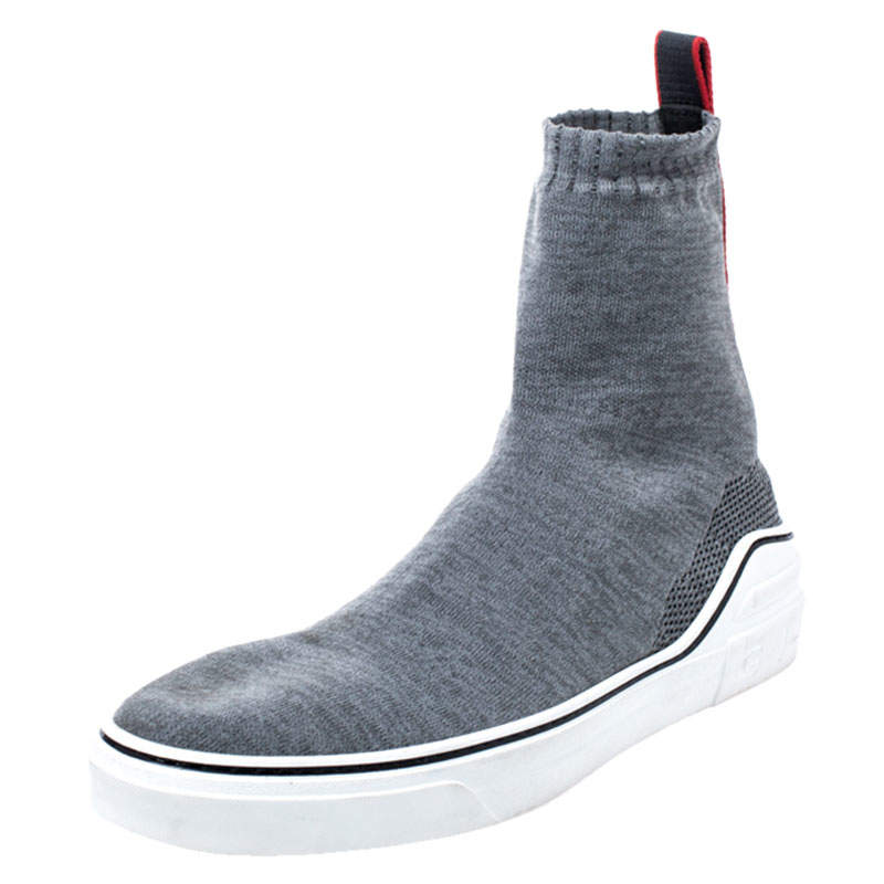 Givenchy Grey Knitted Fabric George V Mid Sock Sneakers Size 45