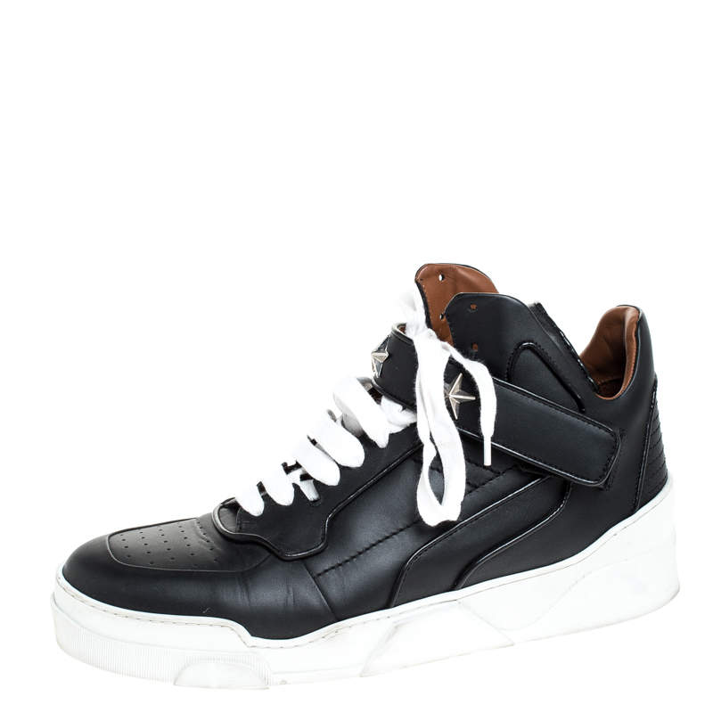 Givenchy Black Leather Tyson Star Studded High Top Sneakers Size 45