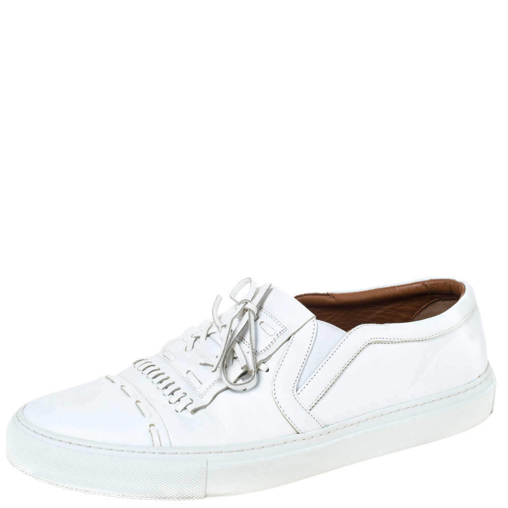 Givenchy White Leather Bow And Stitch Detail Slip On Sneaker Size 44