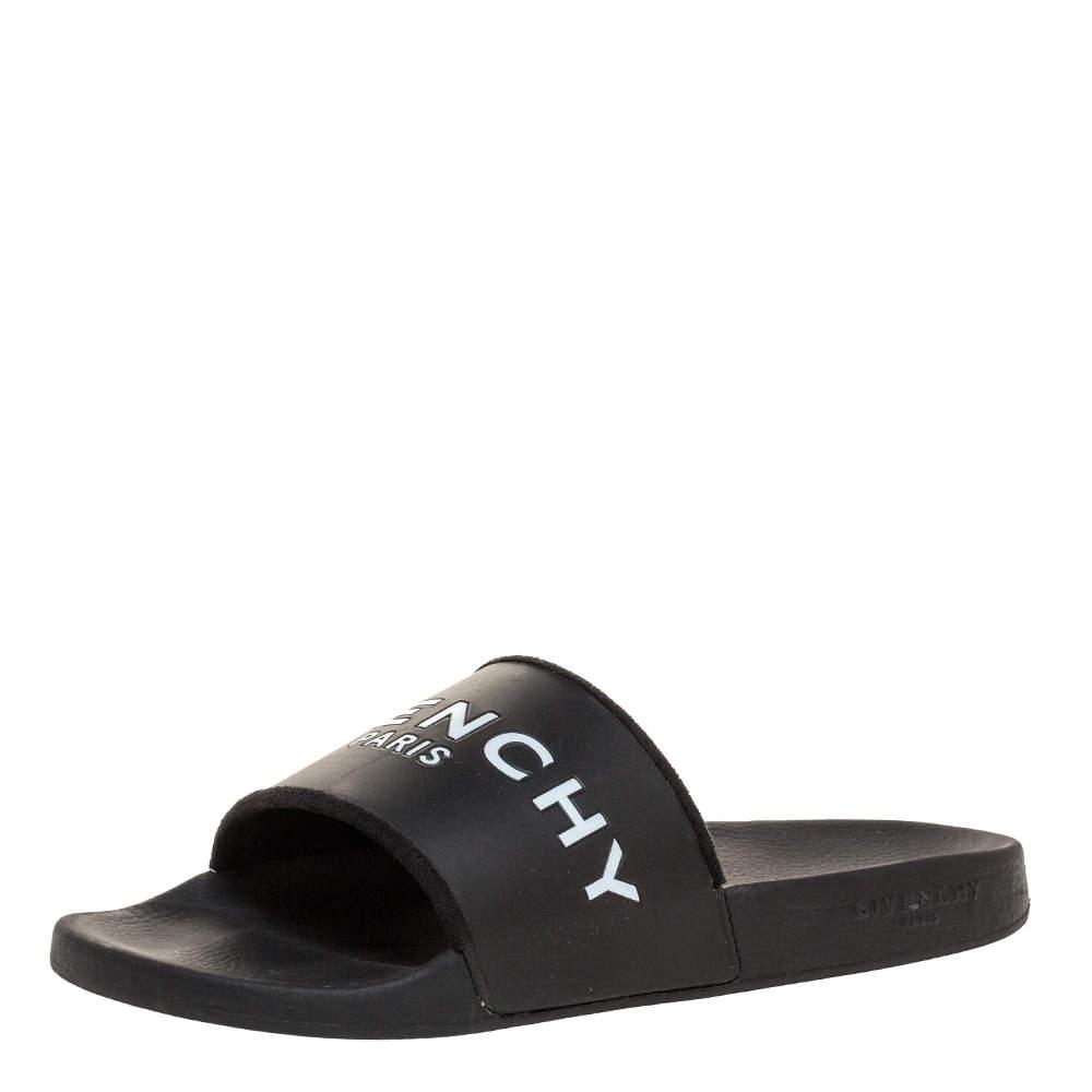 Givenchy Black Rubber Logo Slides Size 44