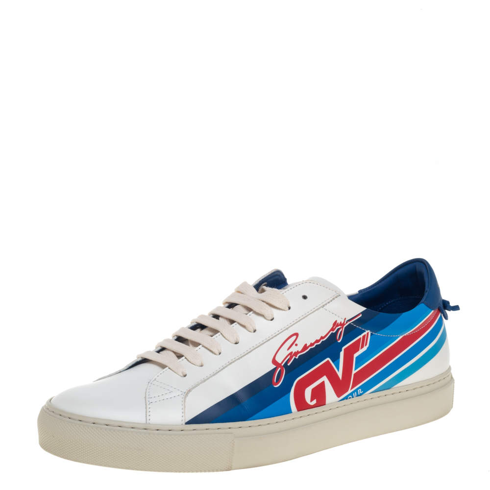 Givenchy White Leather Urban Motocross Graphic Low Top Sneakers Size 43