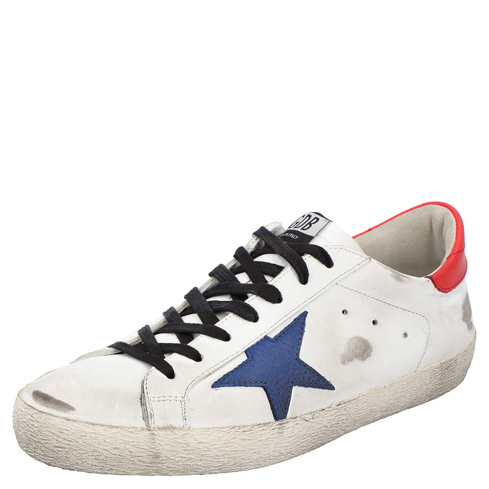 Golden Goose White/Red/Blue Superstar low-top sneakers Size EU 42