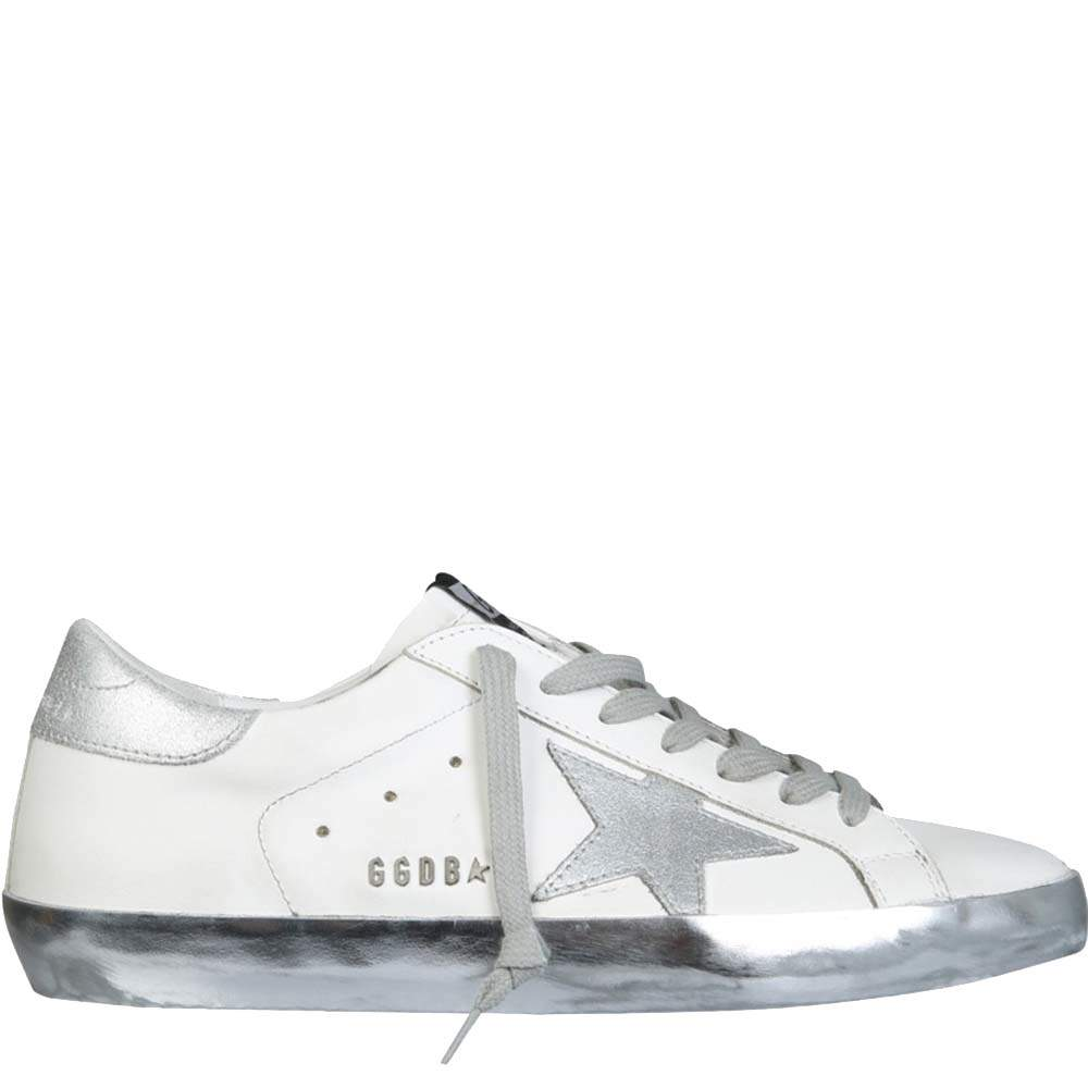 Golden Goose White/Silver Super Star Sneakers Size IT 41