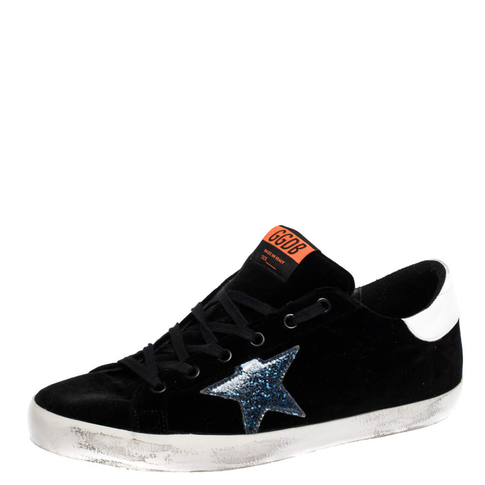 Golden Goose Black/White Velvet And Leather Trim Superstar Lace Up Sneakers Size 41