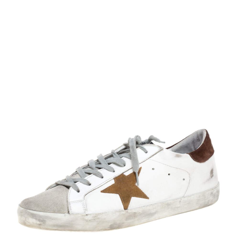 Golden Goose Brown/White Leather And Suede Distressed Superstar Sneakers Size 43