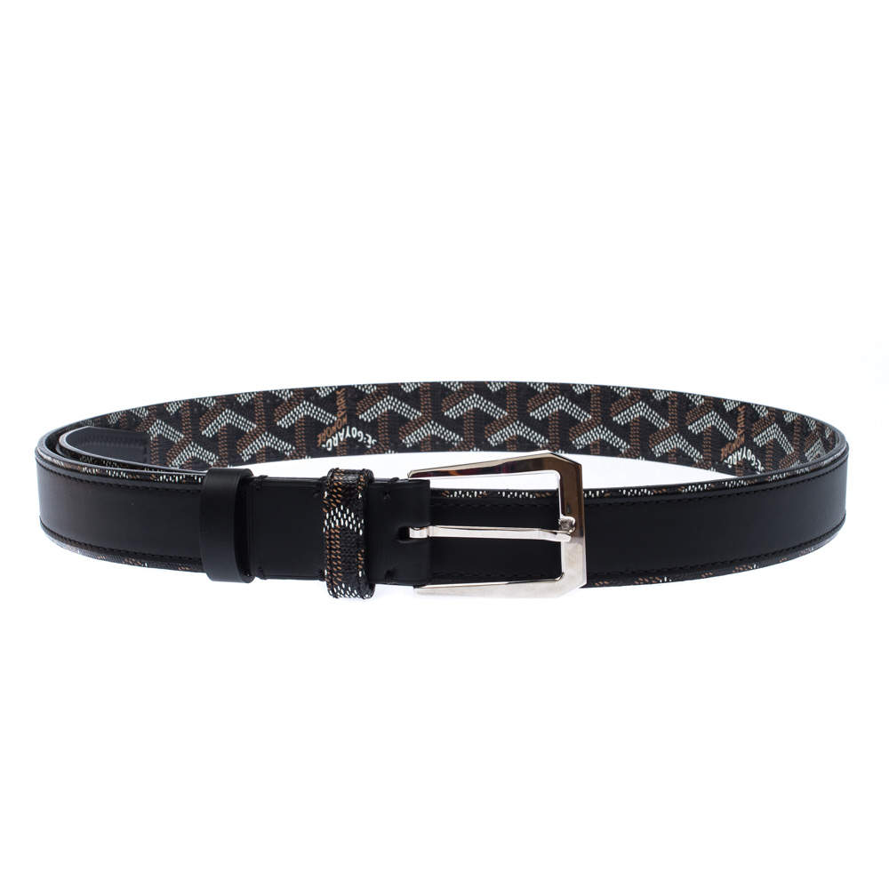 Goyard Black Goyardine Coated Canvas and Leather Buckle Belt 95CM
