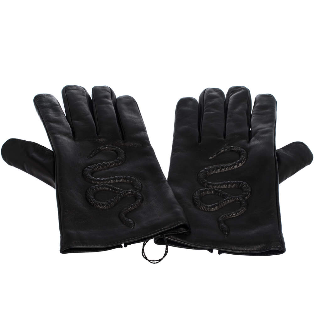 Gucci Black Snake Embossed Leather Gloves Size M