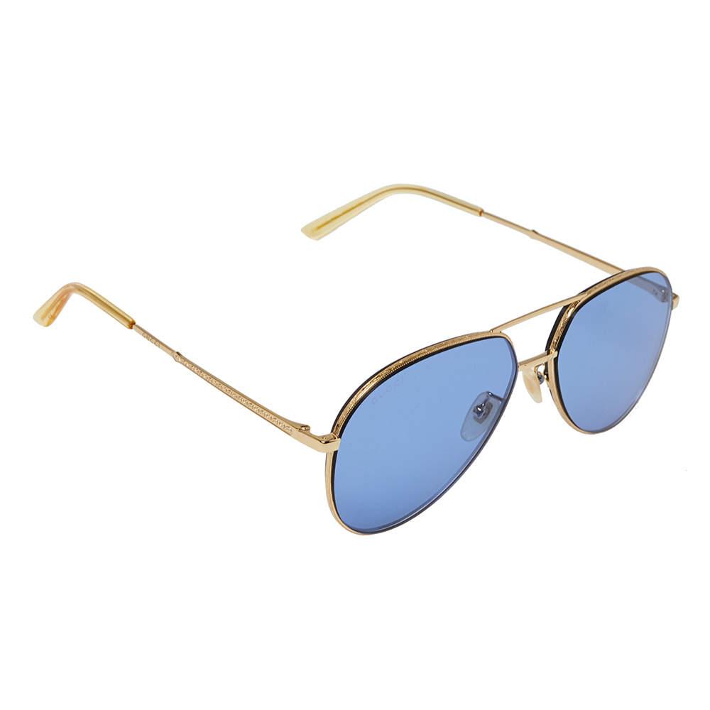 نظارة شمسية غوتشي GG0356S أفياتور أزرق و ذهبي اللون
