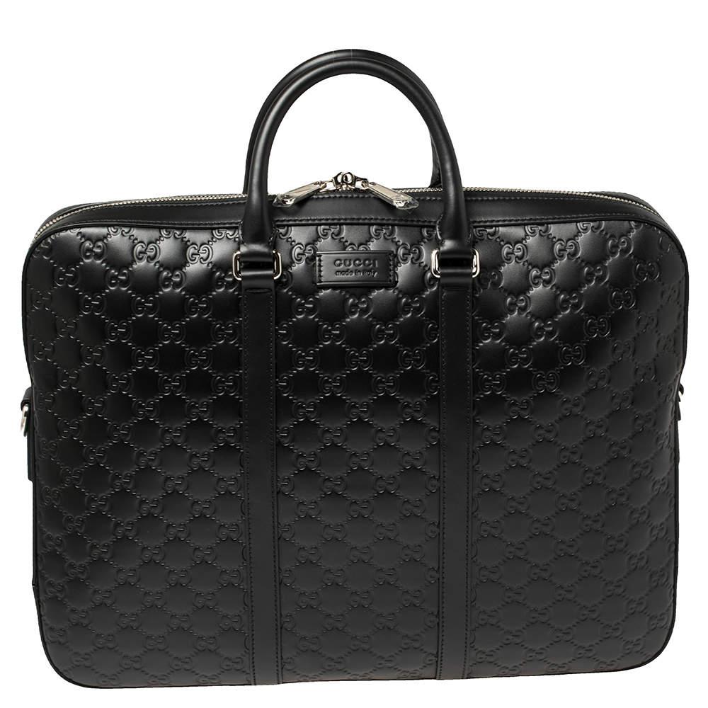 Gucci Black Guccissima Leather Briefcase