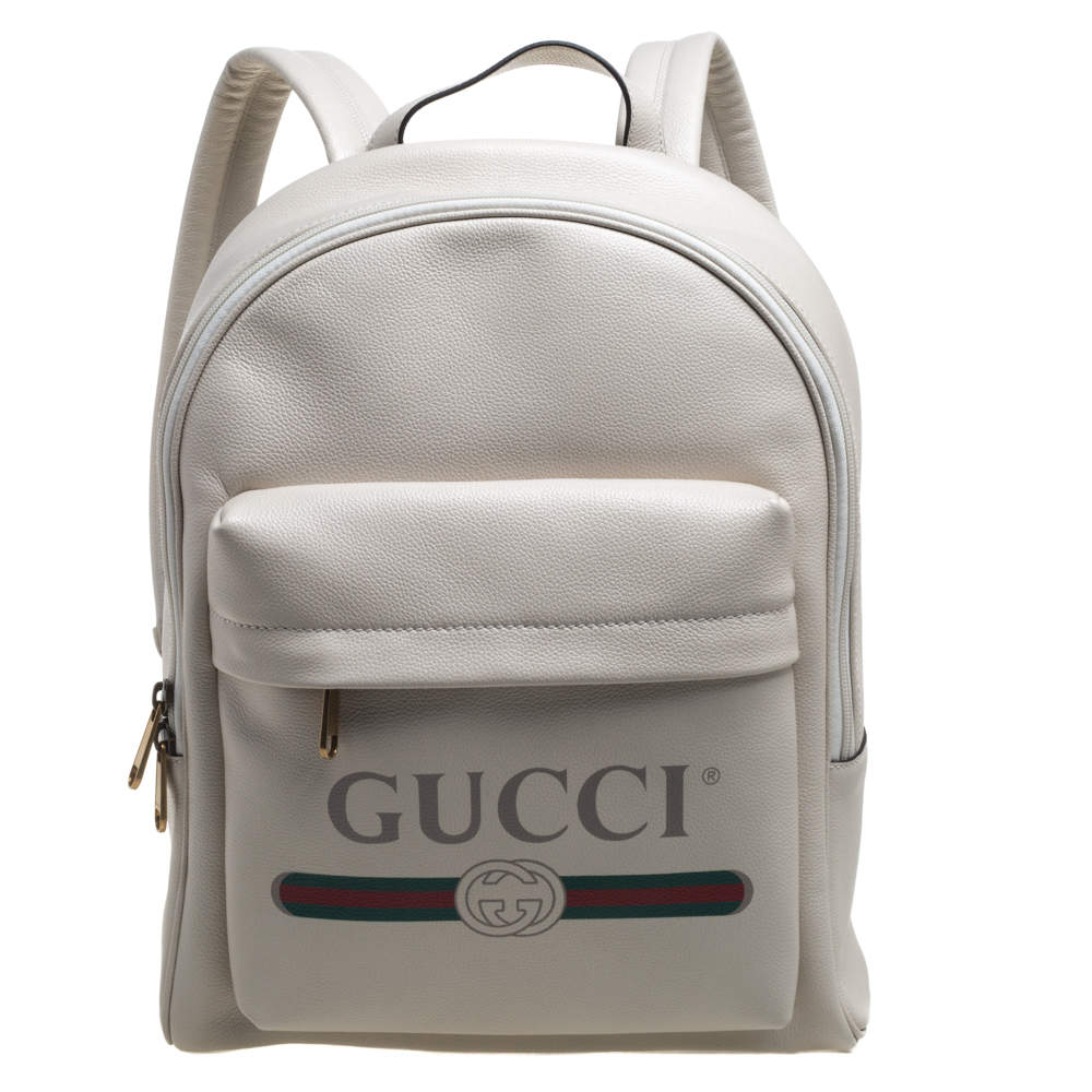 Gucci Off White Leather Logo Print Backpack