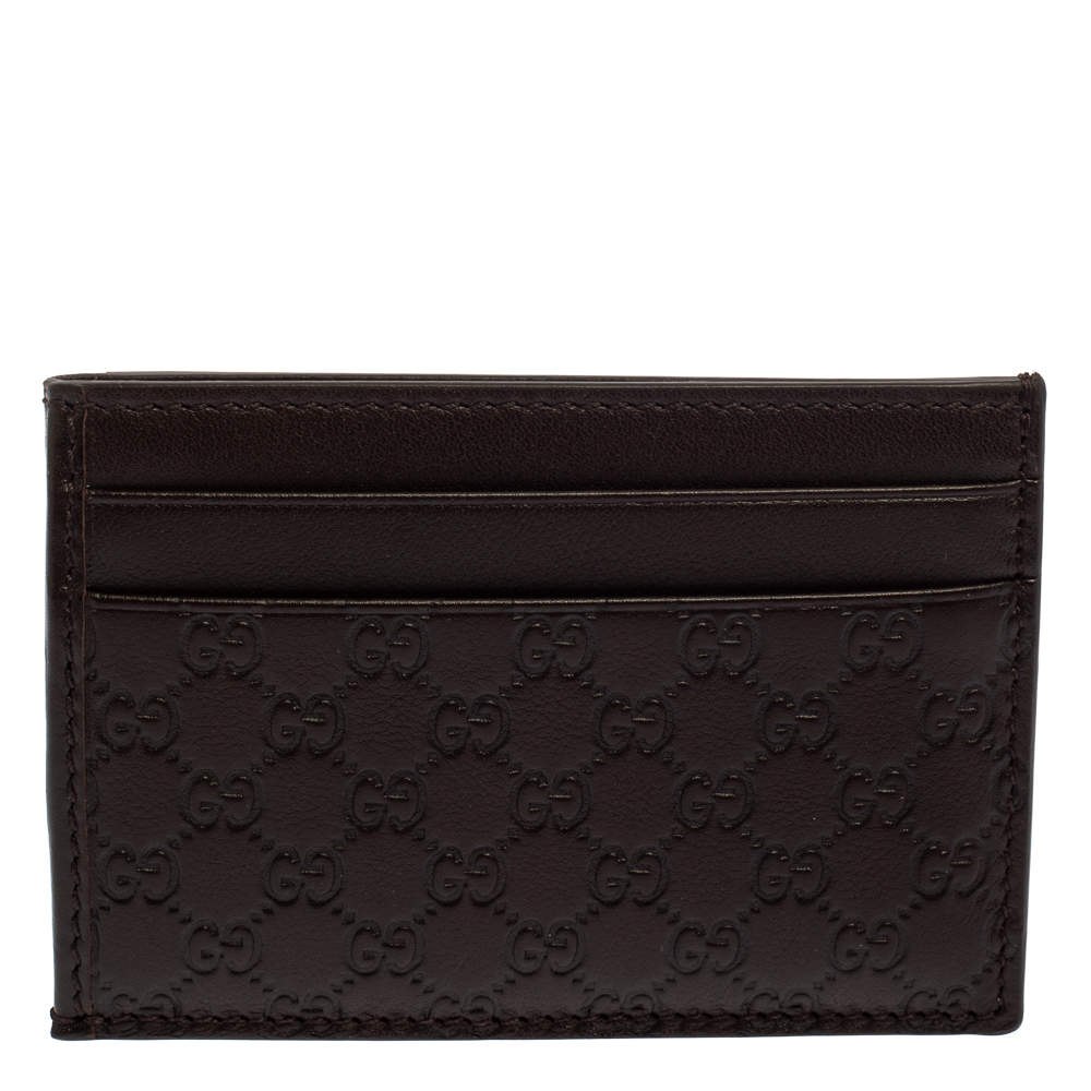 Gucci Dark Brown Guccissima Leather ID Window Card Case