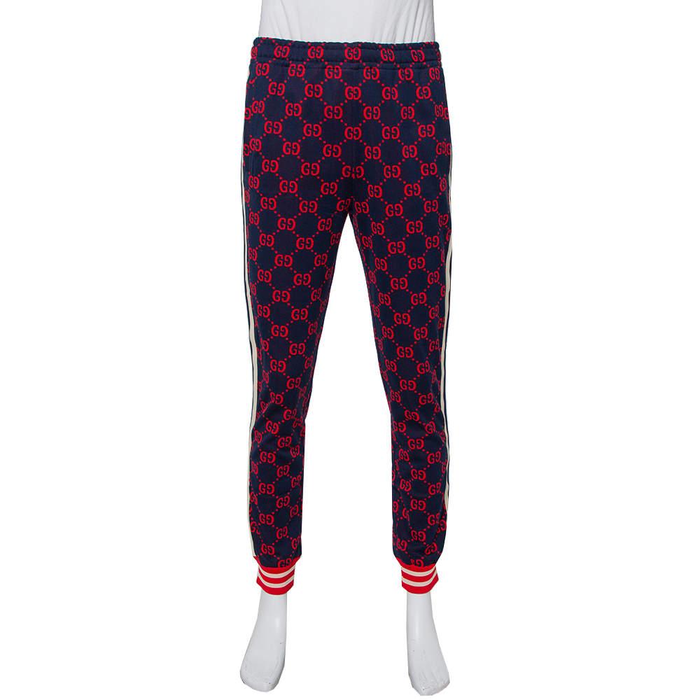 Gucci Navy Blue Logo Jacquard Knit Joggers L