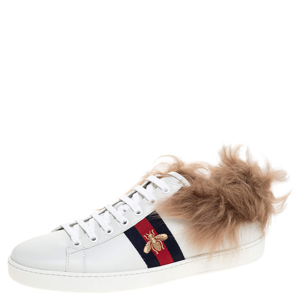 Gucci White Leather and Fur Ace Embroidered Bee Low Top Sneaker Size 40