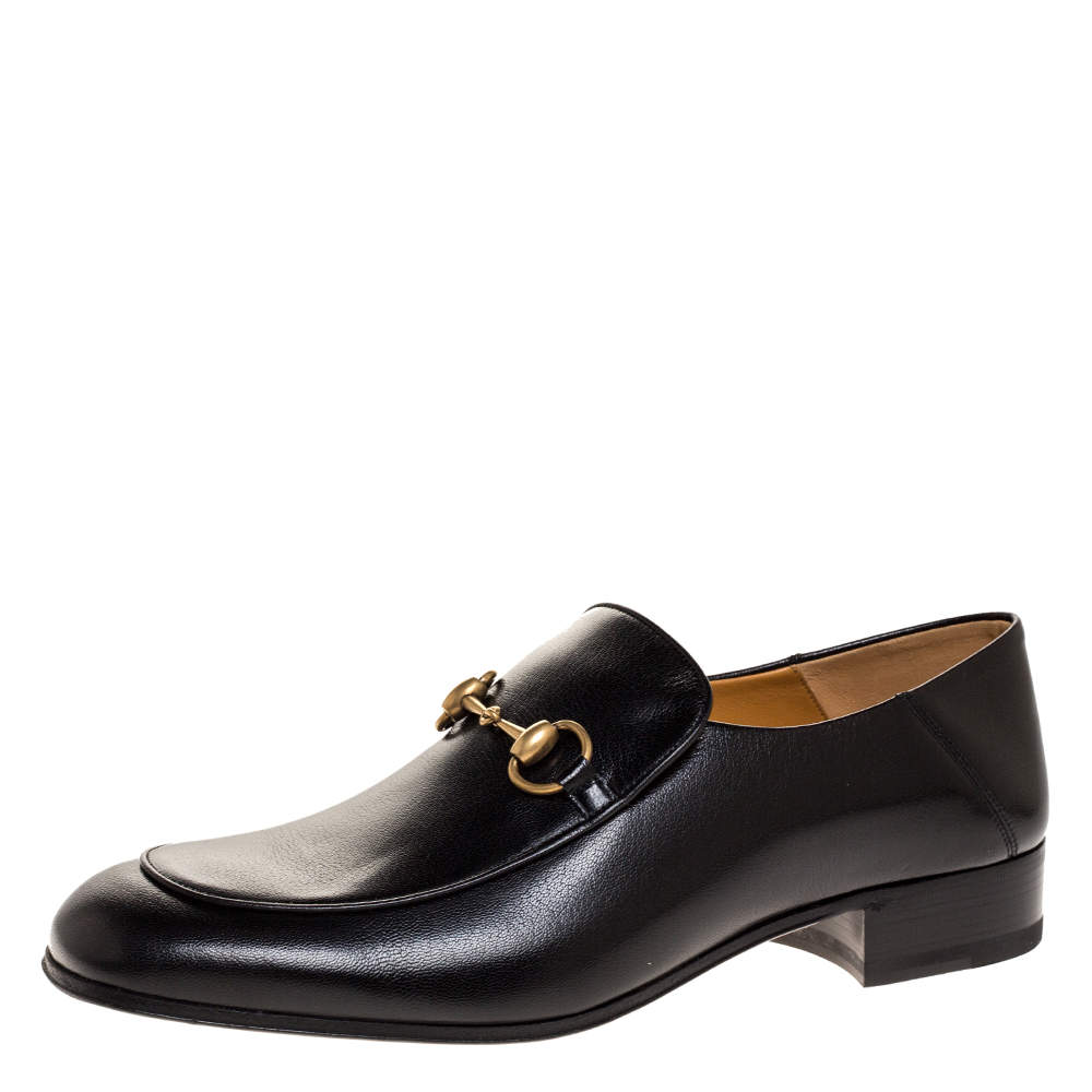 Gucci Black Leather Jordaan Horsebit Slip On Loafers Size 44