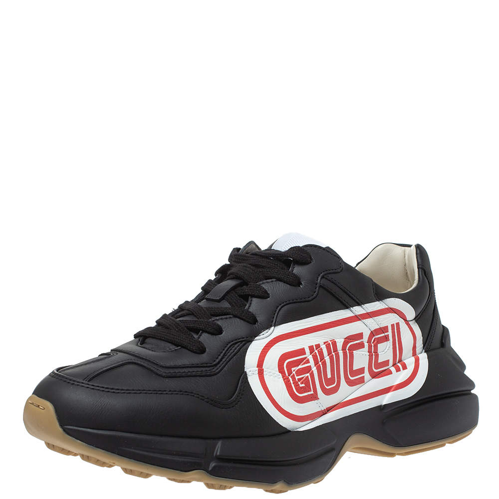 Gucci Black Leather Rhyton Logo Low Top Sneakers Size 44.5