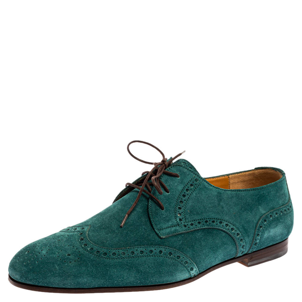 Gucci Teal Green Brogue Suede Derby Oxford Size 43