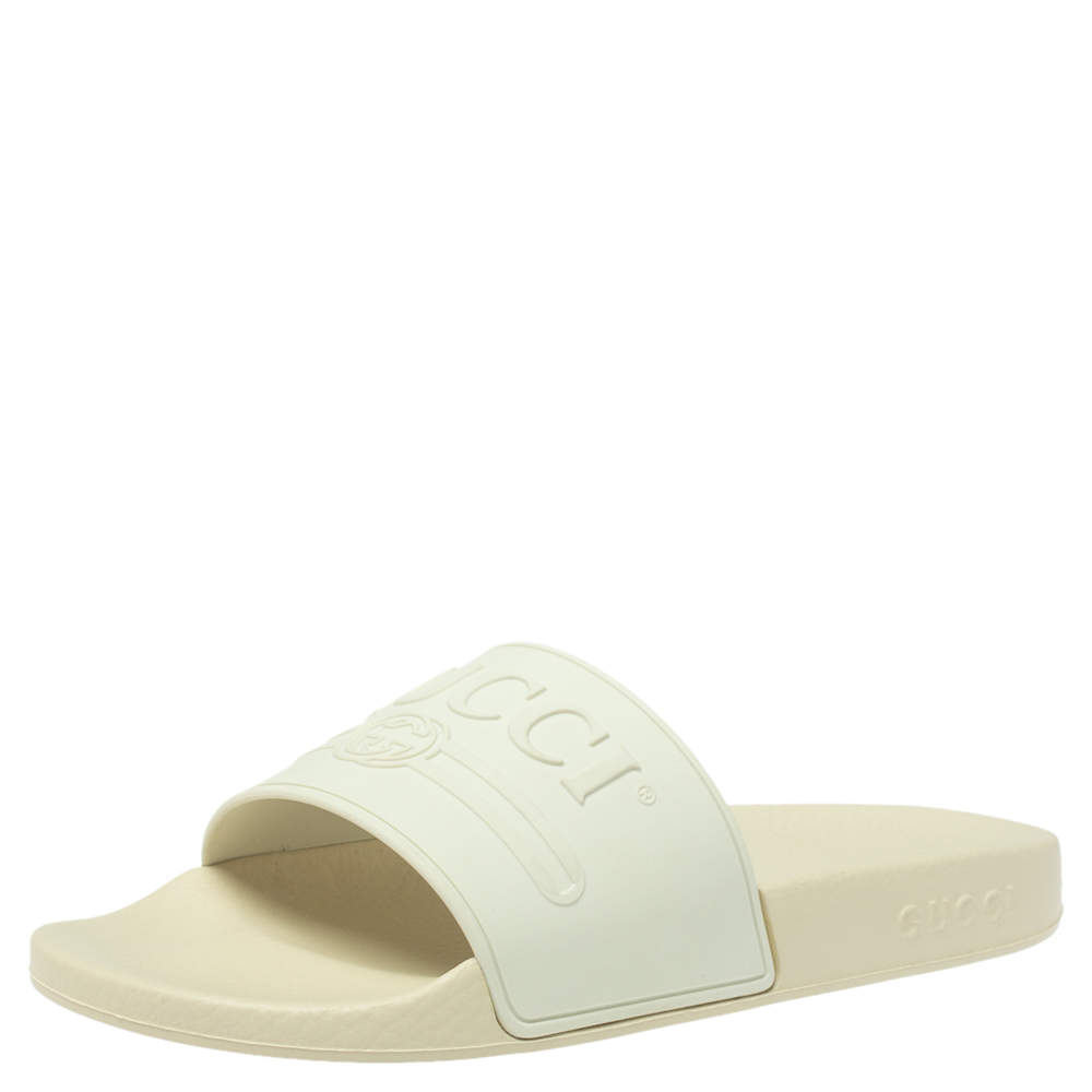 Gucci White Rubber Logo Pursuit Slide Sandals Size 40