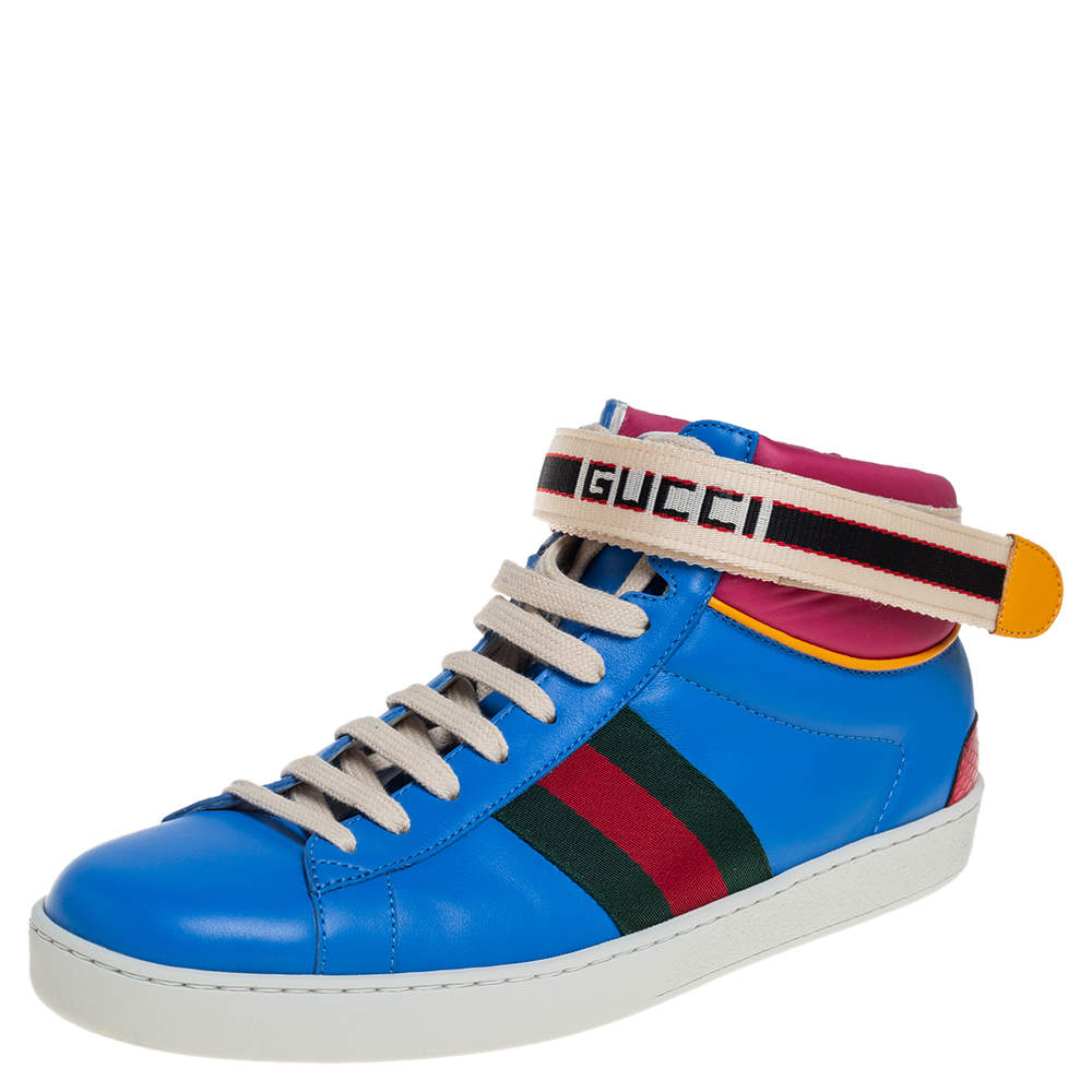 Gucci Multicolor Leather Ace High Top Sneakers Size 41