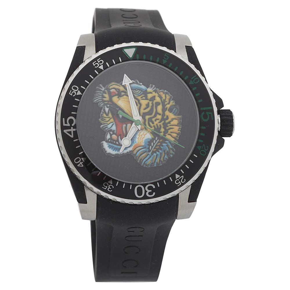 ساعة يد رجالية غوتشي YA136318 أيقونة نمر ستانلس ستيل سوداء 40 مم