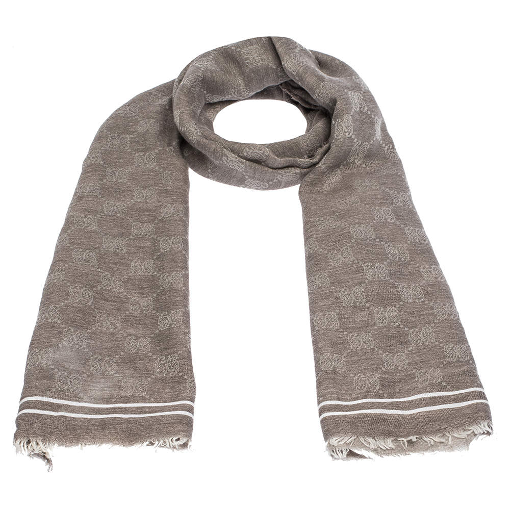 Gucci Brown GG Guccissima Monogram Cotton Scarf