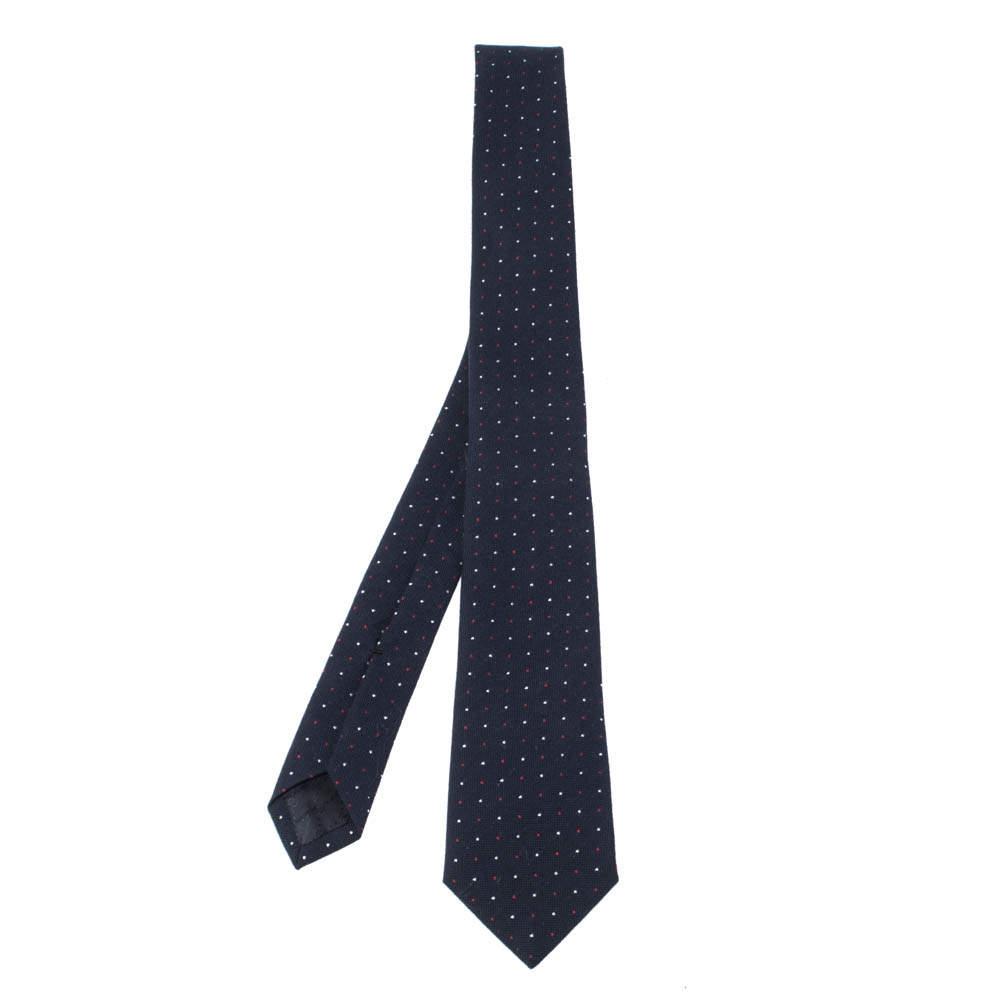 ربطة عنق غوتشي رفيعة صوف و قطن مطبوع سويس دوت أزرق كحلي