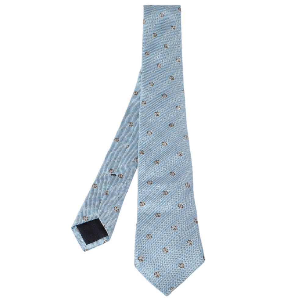 Gucci Pale Blue Monogram Patterned Silk Tie